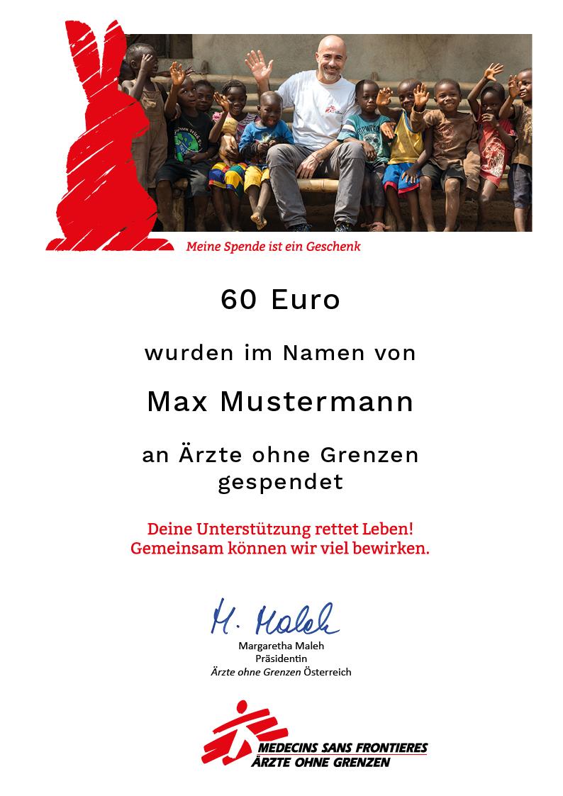 Ausgefüllte Oster-Urkunde
